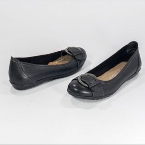 NICOLE Black Leather Silver Buckle Flats
